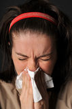Allergies cold flu. Person with a cold or allergy Stock Photo