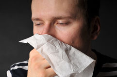 Allergies cold flu. Person with a cold or allergy Royalty Free Stock Photos