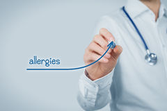 Allergies increasing. Concept. Doctor (medical practitioner) draw growing graph of increasing number of allergies Stock Photo