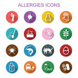 Allergies long shadow icons Royalty Free Stock Photos