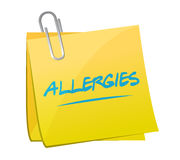 Allergies post memo illustration design Stock Image
