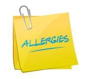 Allergies post memo illustration design. Over a white background Stock Image
