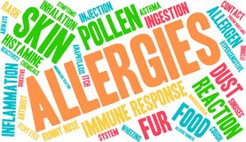 Allergies Word Cloud. On a white background Stock Photo