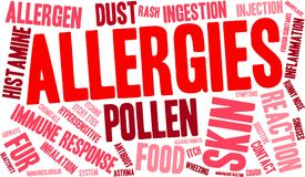 Allergies Word Cloud. On a white background Stock Photos