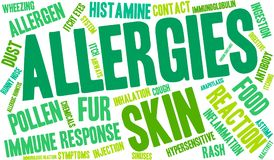 Allergies Word Cloud. On a white background Royalty Free Stock Photos