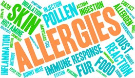 Allergies Word Cloud. On a white background Royalty Free Stock Photo
