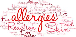 Allergies Word Cloud. On a white background Stock Image