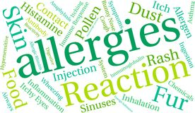 Allergies Word Cloud. On a white background Royalty Free Stock Images