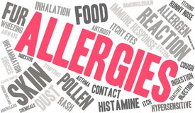 Allergies Word Cloud. On a white background Stock Images