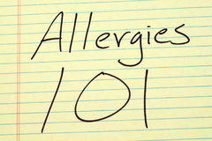 Allergies 101 On A Yellow Legal Pad Stock Image