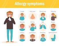 Allergiesymptome flach lizenzfreie abbildung