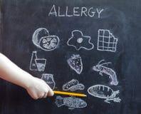 Allergievoedsel en dranken op bord royalty-vrije stock fotografie