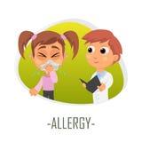 Allergiläkarundersökningbegrepp också vektor för coreldrawillustration Royaltyfria Foton