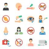 Allergisymboler sänker uppsättningen vektor illustrationer