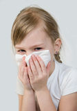 An allergy. The girl with a napkin, a cold Stock Photo