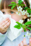 Allergy. Spring portrait of a little girl is blowing her nose Royalty Free Stock Photography