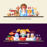 Allergy and allergens flat design website banners set. Set of vector flat design allergy and allergen banners, headers with icons and infographics elements Stock Photos