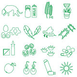 Allergy and allergens green outline icons set eps10. Allergy and allergens green outline icons set Stock Image