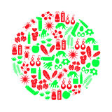 Allergy and allergens red and green icons set eps10. Allergy and allergens red and green icons set Stock Photos