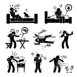 Allergy Allergic Reactions Cliparts. A set of human pictogram representing man allergy to cat, dust mites, prawn, medicine, perfume, dust, cold, and pollen Stock Image