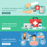 Allergy Banner Set. Allergy horizontal banner set with diagnosis and tests elements isolated vector illustration Royalty Free Stock Image