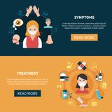 Allergy Banners Set. Various symptoms of allergy and its treatment horizontal banners set on colorful backgrounds flat isolated vector illustration Stock Images