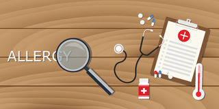 Allergy concept with magnifying glass and medical record clipboard drugs Stock Image