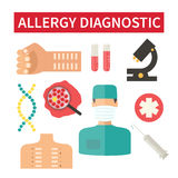 Allergy diagnostic and medical care. Allergy diagnostic. Looking for allergen. Clinic laboratory tests. Vector illustration Stock Images