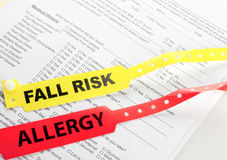 Allergy And Fall Risk Bracelet Stock Image