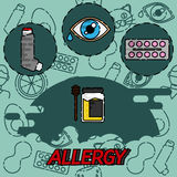 Allergy flat concept icons. Design Set. Vector illustration, EPS 10 Royalty Free Stock Images