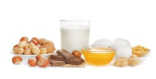 Allergy food concept. Allergic food stock photo