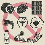 Allergy food icons set. Vector illustration. eps 8 Stock Image