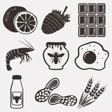 Allergy food icons set Stock Photography