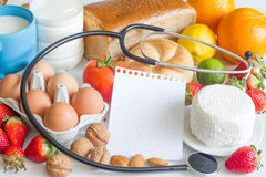 Allergy food and stethoscope abstract concept Stock Photos