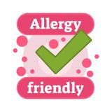 Allergy friendly symbol badge vector illustration. With large green check and pink dots Royalty Free Stock Photo