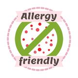 Allergy friendly symbol badge vector illustration. With particles and green sign Stock Photos