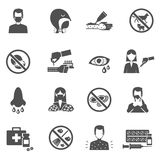 Allergy Icons Black Stock Image