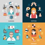 Allergy 2x2 Icons Set. Allergy symptoms diagnostics and ways of treatment 2x2 icons set isolated on colorful backgrounds flat vector illustration Royalty Free Stock Photography