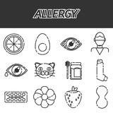 Allergy icons set. Vector illustration EPS 10 Royalty Free Stock Photo