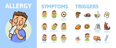 Allergy Infographic Set. Allergy Symptoms information poster with text and character. Flat vector illustration. Allergy Infographic Set. Allergy Symptoms stock illustration
