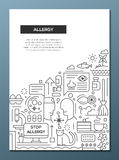 Allergy - line design brochure poster template A4 Royalty Free Stock Photos