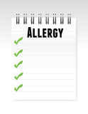Allergy list note paper illustration design Stock Photo