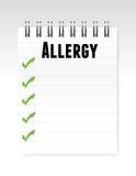 Allergy list note paper illustration design Stock Photo