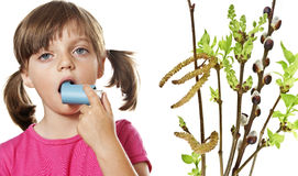 Allergy. Little girl with inhaler - respiratory problems Stock Image