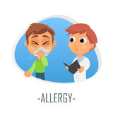 Allergy medical concept. Vector illustration. Doctor and patient are talking in the hospital. Isolated on white background Royalty Free Stock Photos
