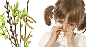Allergy. Portrait of little girl with handkerchief - allergy royalty free stock photography