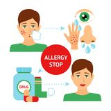 Allergy Prevention Concept. With sick and healthy person symptoms and drugs vector illustration Royalty Free Stock Images