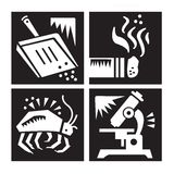 Allergy Research Icon Set. In Black and White Royalty Free Illustration