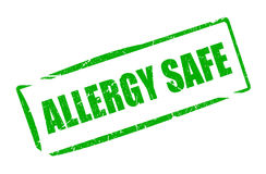 Allergy safe rubber stamp. Illustration isolated on white background Stock Photos