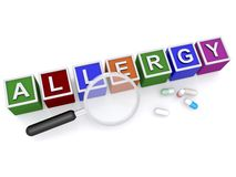 Allergy sign with medical pills. 3d letter blocks spelling the word allergy next to a magnifying glass and medical pills, white background Stock Images